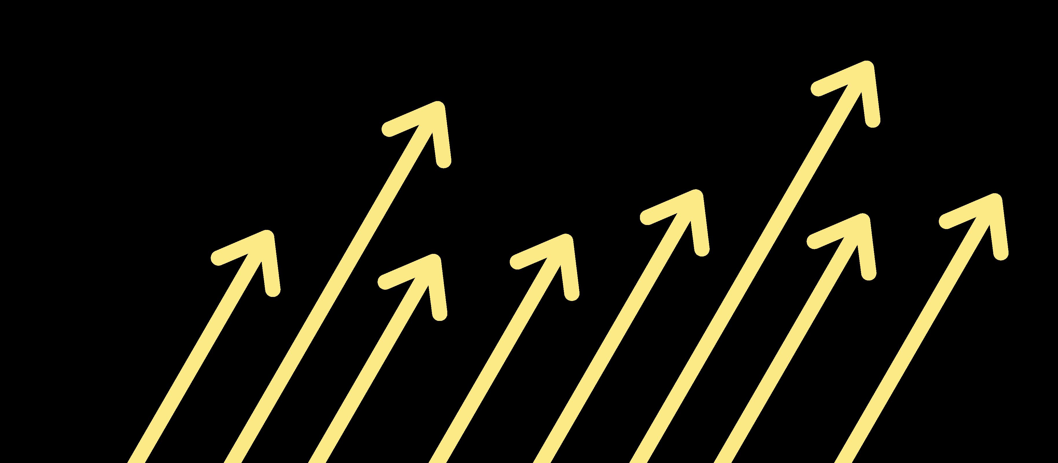 Mehrere Pfeile, die von links nach rechts angeordnet sind und nach oben zeigen, stehen für Geschäftswachstum