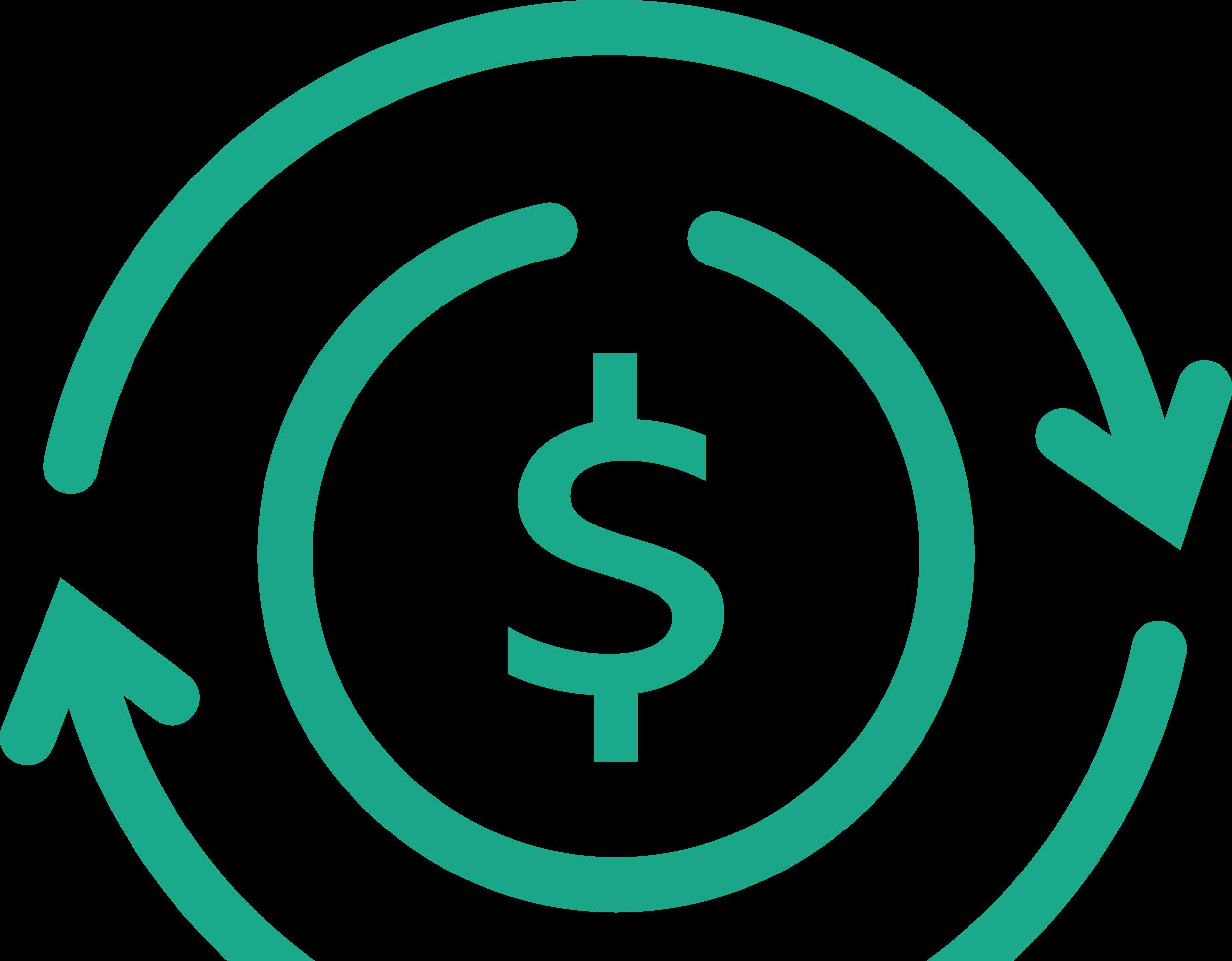 Euro-Symbol und Linien mit Pfeilen stellen die Bewegung von Geld dar