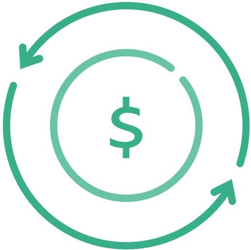 Dollar symbol and lines with arrows represent the movement of money