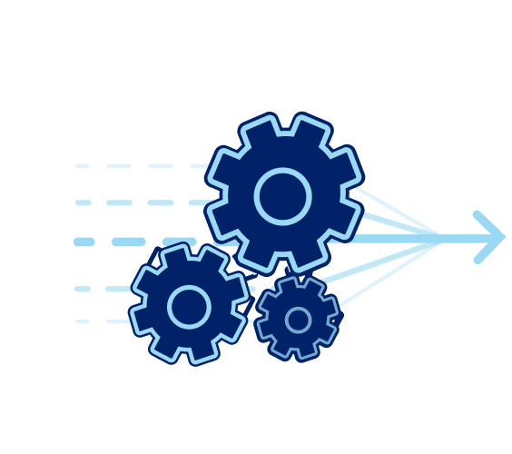 Gears with an arrow pointing to the right to show movement