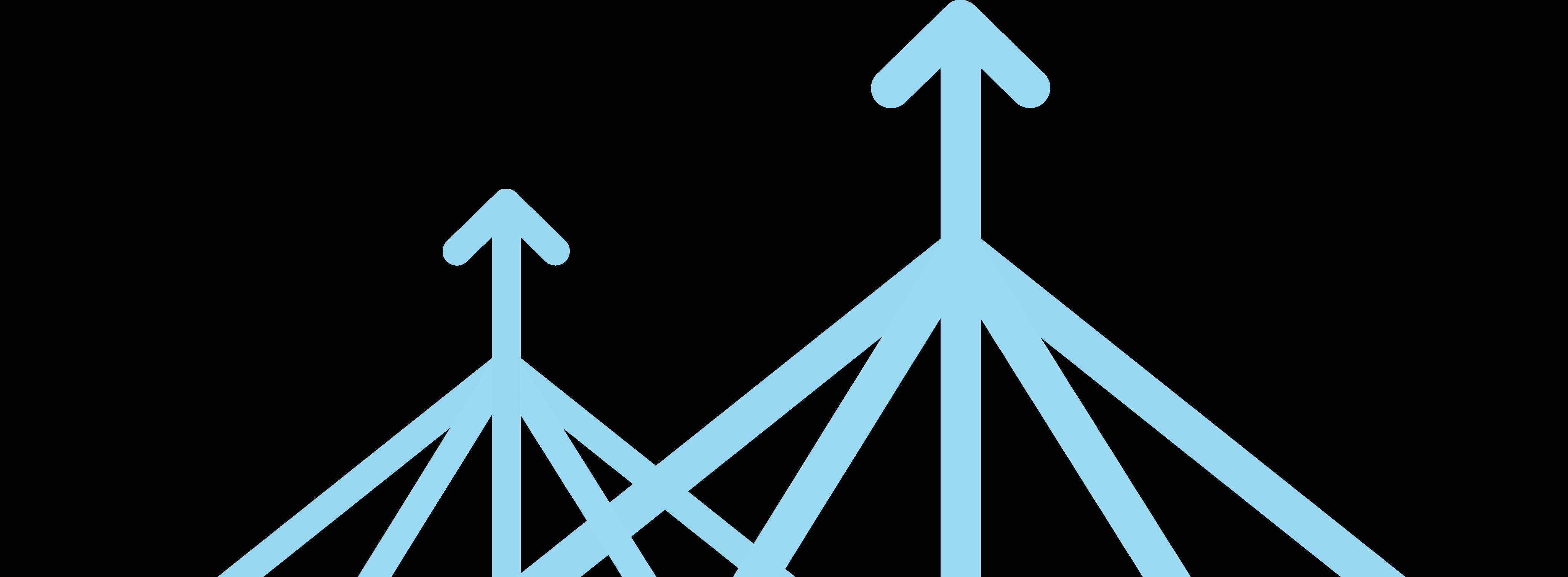 Mehrere Linien, die zu einer Linie mit einem nach oben zeigenden Pfeil zusammenlaufen, stellen dar, wie Arbeitsabläufe gestrafft werden können