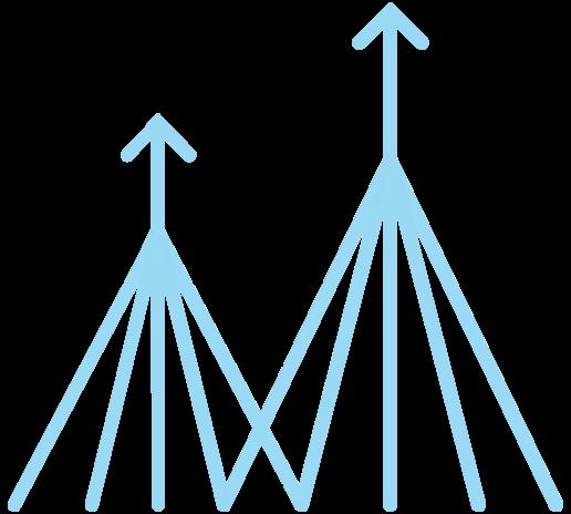 Beberapa garis terjalin menjadi satu baris dengan panah yang mengarah ke atas menunjukkan bagaimana alur kerja dapat disederhanakan menjadi lebih efisien