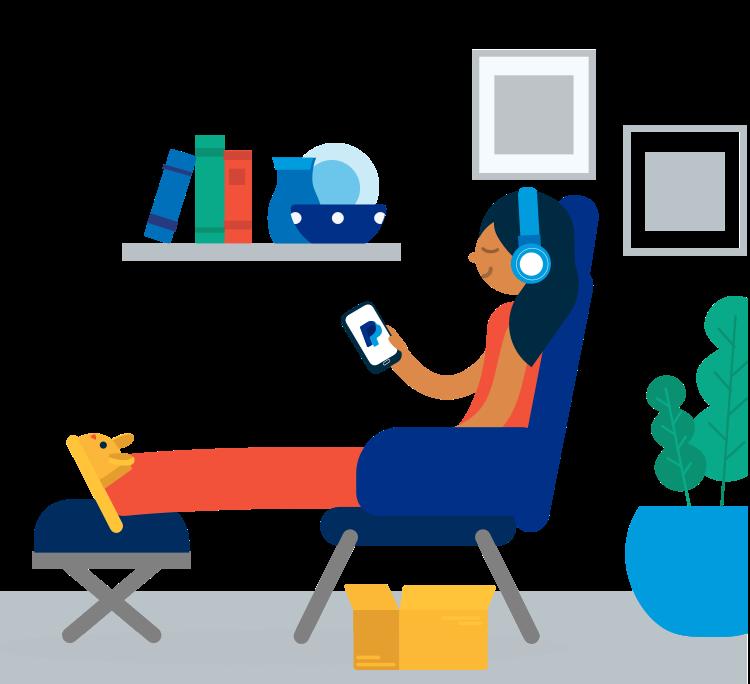 Image d'une femme assise sur un canapé, écoutant de la musique et utilisant l'application Paypal