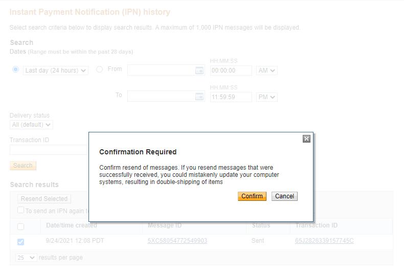 IPN resend confirm