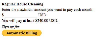 Automatic Billing button to select maximum amount for Automatic Billing