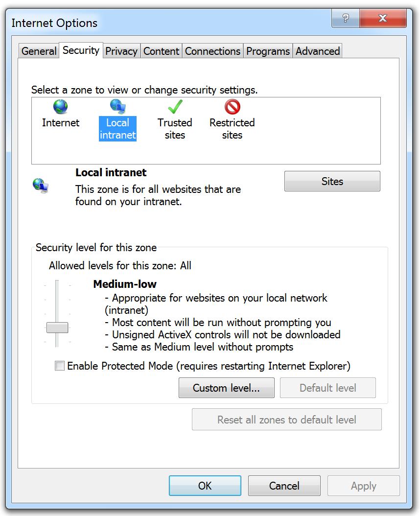 Internet Explorer Internet Options Security