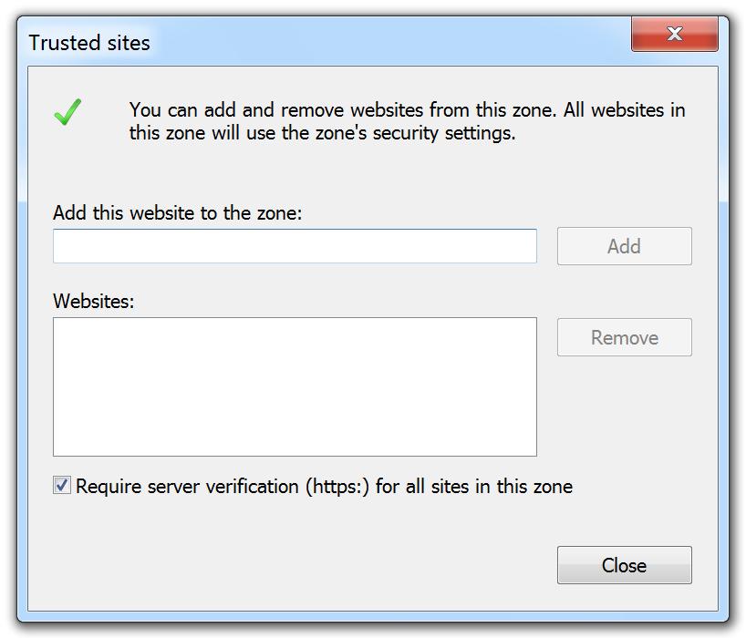 Internet Explorer Internet Options Trusted Sites