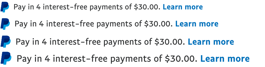 Four Australian text message for a Pay Later offer with 13, 14, 15, and 16 pixel font, left-aligned, black text on a white background, with a PayPal logo displaying only the PayPal icon on the left side of the text