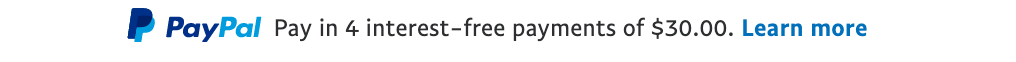 Australian text message for a Pay Later offer with 12 pixel font, left-aligned, black text on a white background, with a PayPal logo displaying the PayPal icon and name on the left side of the text center