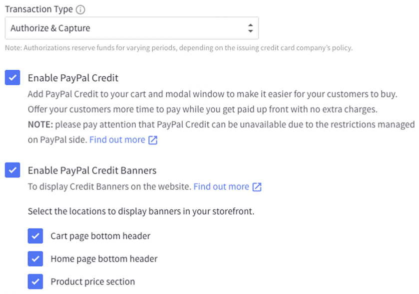 Enable PayPal Credit Banners