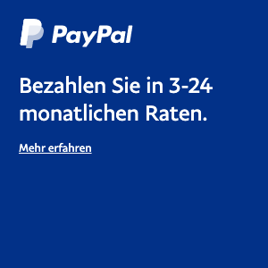 A square Ratenzahlung flex message for a Pay Later offer with white text and logo on a blue background