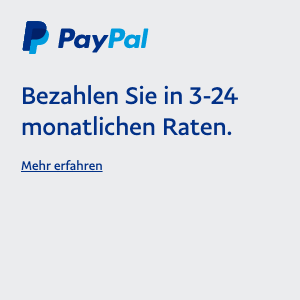 A square Ratenzahlung flex message for a Pay Later offer with blue text and a colored logo on a light gray background