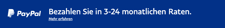 A rectangular Ratenzahlung flex message with a width to height ratio of 8x1 for a Pay Later offer with white text and logo on a blue background