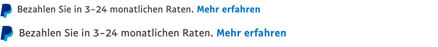 Two Ratenzahlung text message for a Pay Later offer with 10 and 11 pixel font, left-aligned, black text on a white background, with a PayPal logo displaying only the PayPal icon on the left side of the text