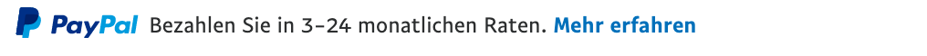 Ratenzahlung text message for a Pay Later offer with 12 pixel font, left-aligned, black text on a white background, with a PayPal logo displaying the PayPal icon and name on the left side of the text left