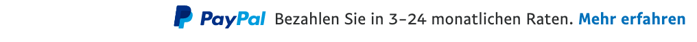 Ratenzahlung text message for a Pay Later offer with 12 pixel font, left-aligned, black text on a white background, with a PayPal logo displaying the PayPal icon and name on the left side of the text right