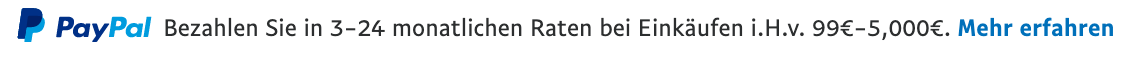 Ratenzahlung text message for a non-qualifying Pay Later offer