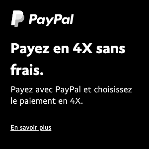 A square French flex message for a Pay Later offer with white text and logo on a black background