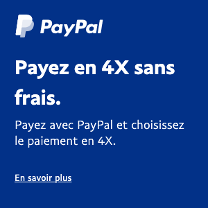 A square French flex message for a Pay Later offer with white text and logo on a blue background