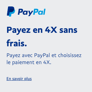 A square French flex message for a Pay Later offer with blue text and a colored logo on a light gray background