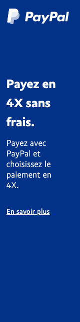 A rectangular French flex message with a width to height ratio of 1x4 for a Pay Later offer with white text and logo on a blue background