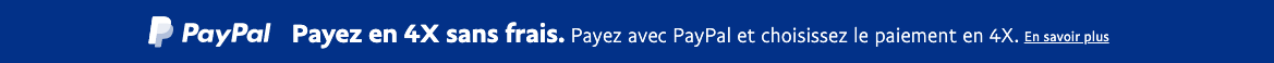 A rectangular French flex message with a width to height ratio of 20x1 for a Pay Later offer with white text and logo on a blue background