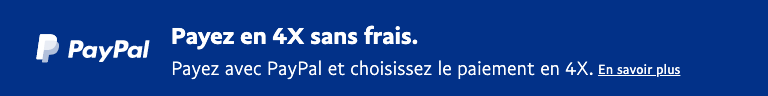 A rectangular French flex message with a width to height ratio of 8x1 for a Pay Later offer with white text and logo on a blue background