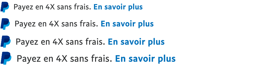 Four French text message for a Pay Later offer with 13, 14, 15, and 16 pixel font, left-aligned, black text on a white background, with a PayPal logo displaying only the PayPal icon on the left side of the text