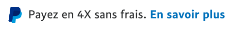 French text message for a Pay Later offer with 12 pixel font, left-aligned, black text on a white background, with a PayPal logo displaying only the PayPal icon on the left side of the text