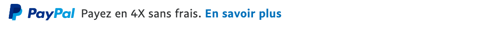 French text message for a Pay Later offer with 12 pixel font, left-aligned, black text on a white background, with a PayPal logo displaying the PayPal icon and name on the left side of the text left