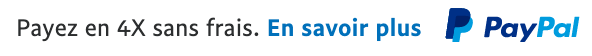 French text message for a Pay Later offer with 12 pixel font, left-aligned, black text on a white background, with a primary PayPal logo on the right side of the text
