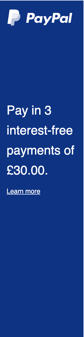 A rectangular British flex message with a width to height ratio of 1x4 for a Pay Later offer with white text and logo on a blue background
