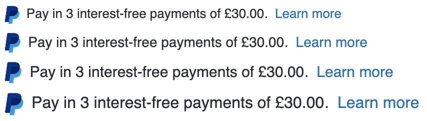 Four British text message for a Pay Later offer with 13, 14, 15, and 16 pixel font, left-aligned, black text on a white background, with a PayPal logo displaying only the PayPal icon on the left side of the text