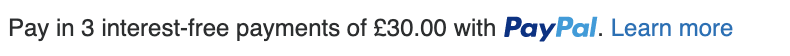 British Pay Later messaging text inline black