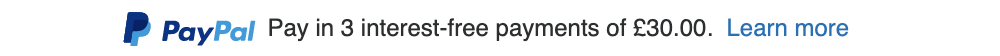 gb text message for a Pay Later offer with 12 pixel font, left-aligned, black text on a white background, with a PayPal logo displaying the PayPal icon and name on the left side of the text center