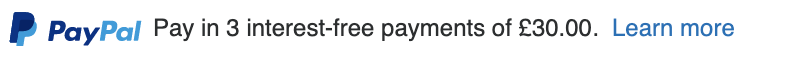 British text message for a Pay Later offer with 12 pixel font, left-aligned, black text on a white background, with a PayPal logo displaying the PayPal icon and name on the left side of the text