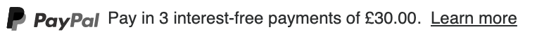 British text message for a Pay Later offer with 12 pixel font, left-aligned, grayscale text on a white background, with a grayscale primary PayPal logo on the left side of the text