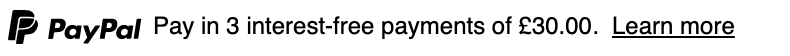 British text message for a Pay Later offer with 12 pixel font, left-aligned, black text on a white background, with a monochrome primary PayPal logo on the left side of the text