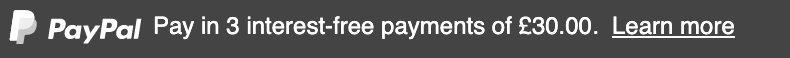 British text message for a Pay Later offer with 12 pixel font, left-aligned, white text on a black background, with a white primary PayPal logo on the left side of the text