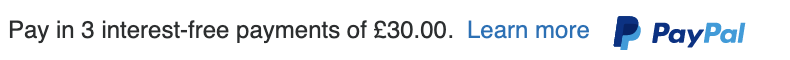 British text message for a Pay Later offer with 12 pixel font, left-aligned, black text on a white background, with a primary PayPal logo on the right side of the text