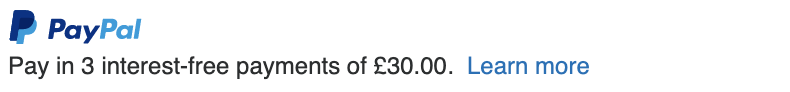 British text message for a Pay Later offer with 12 pixel font, left-aligned, black text on a white background, with a primary PayPal logo on top of the text