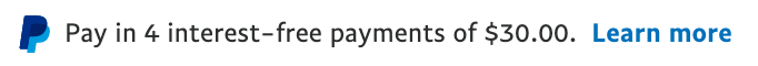 us text message for a Pay Later offer with 12 pixel font, left-aligned, black text on a white background, with a PayPal logo displaying only the PayPal icon on the left side of the text