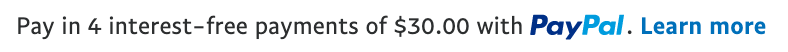us text message for a Pay Later offer with 12 pixel font, left-aligned, black text on a white background, with a PayPal brand name logo displayed within the text