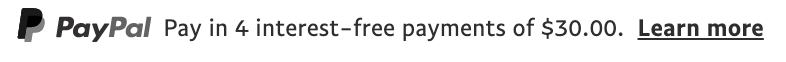 us text message for a Pay Later offer with 12 pixel font, left-aligned, grayscale text on a white background, with a grayscale primary PayPal logo on the left side of the text