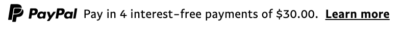 us text message for a Pay Later offer with 12 pixel font, left-aligned, black text on a white background, with a monochrome primary PayPal logo on the left side of the text