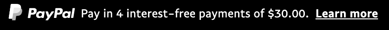 us text message for a Pay Later offer with 12 pixel font, left-aligned, white text on a black background, with a white primary PayPal logo on the left side of the text