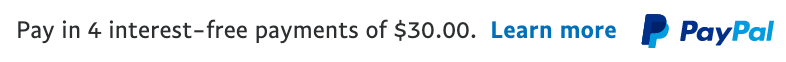 us text message for a Pay Later offer with 12 pixel font, left-aligned, black text on a white background, with a primary PayPal logo on the right side of the text