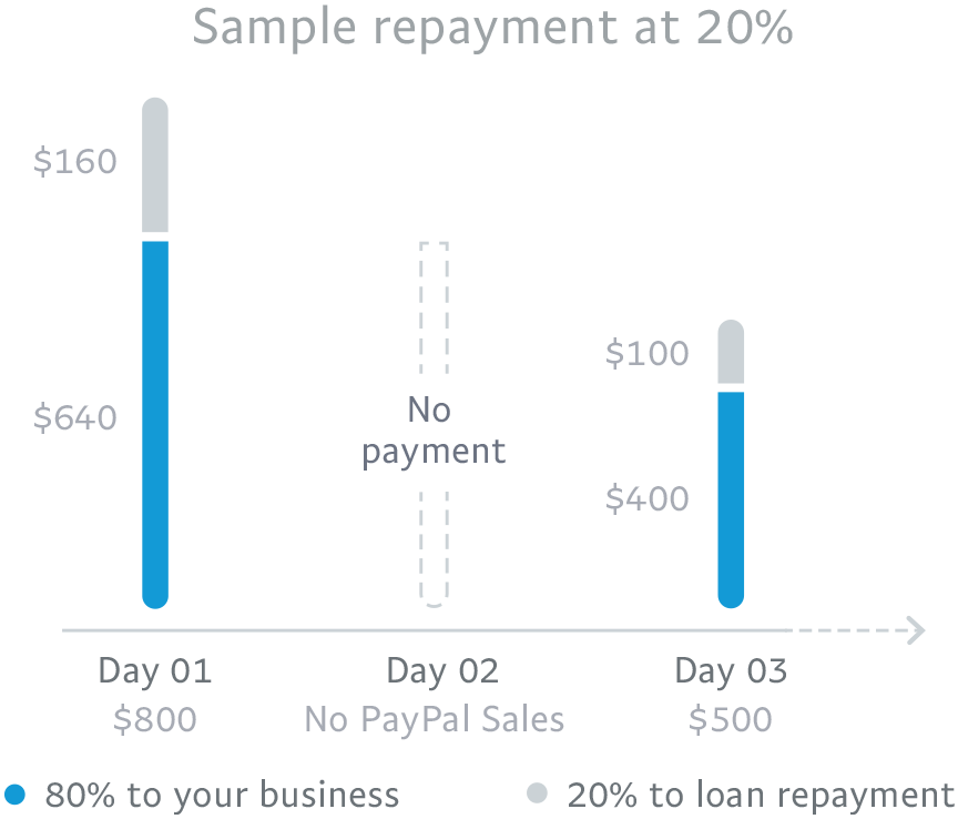 80% to your business and 20% to loan repayment