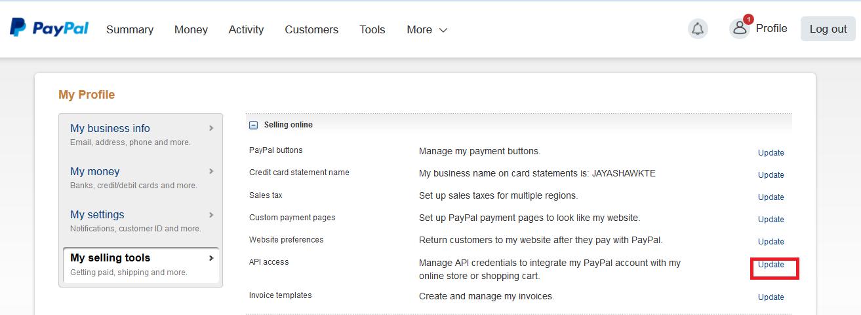 Create API & Setup,API Credentials - PayPal