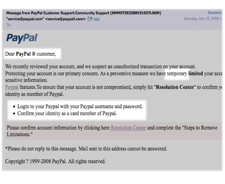 Report spam emails to paypal